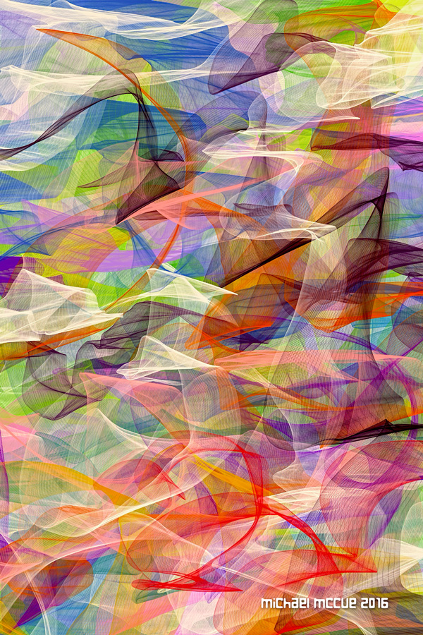 This is an abstract expressionist painting featuring colorful angel hair effects.