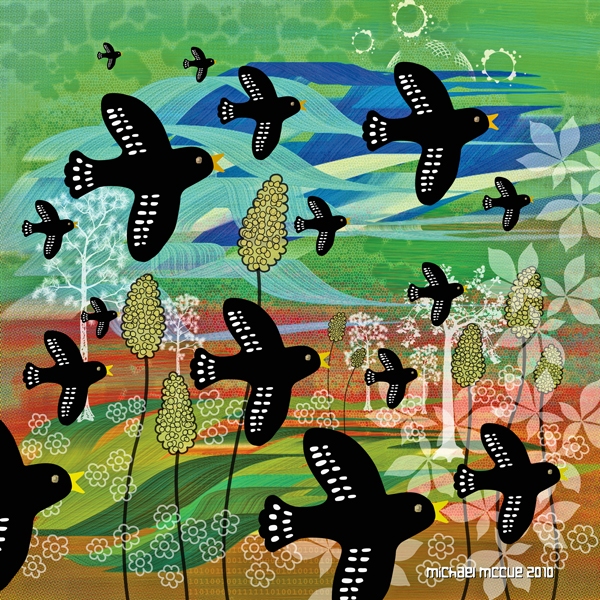 The is a painting of black birds flying on a windy day.