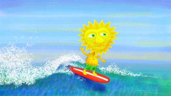 This is a painting of a surfing Sun King character.