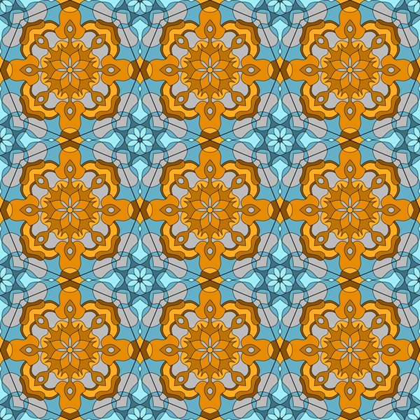 This picture shows a repeating pattern that is part of collection of tile designs.