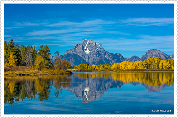 This is a photograph of Mt Moran and Ox Bow Bend in Grand Teton National Park